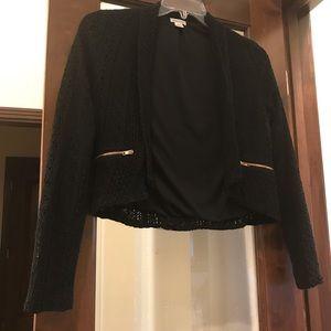 Cute cropped black open front blazer